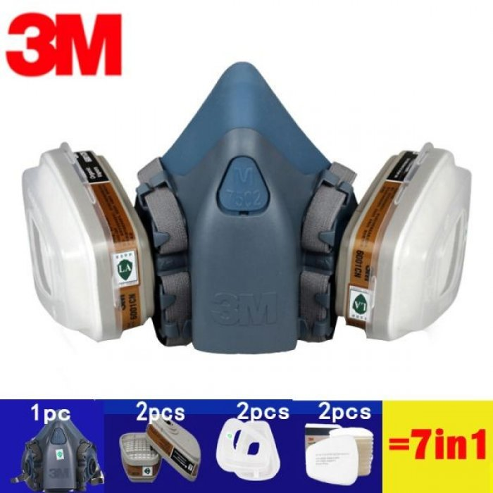 3M Μάσκα Μισού Προσώπου Πολλαπλών Χρήσεων από Σιλικόνη Σειράς (7500) 7502 complete